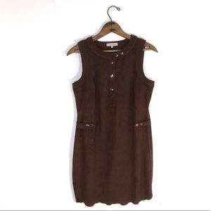 1. State Faux Suede Brown Sheath Dress